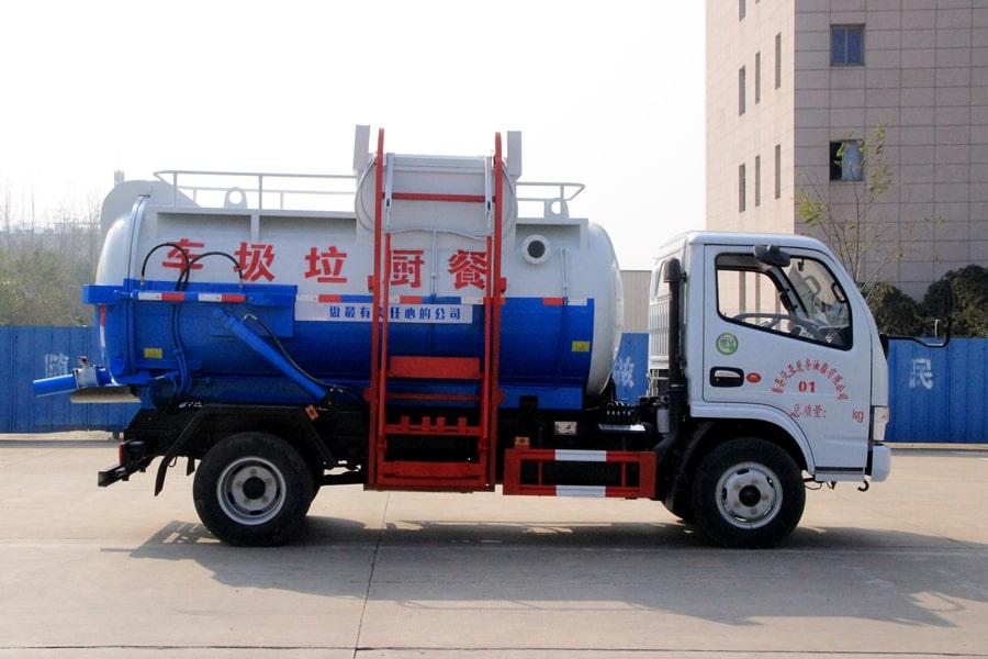 东风5方餐厨垃圾车(车头向右正侧)