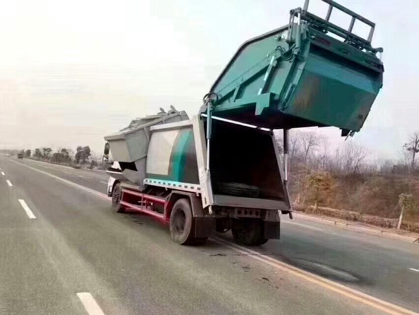 国六东风天锦分捡垃圾运输车左后侧图片