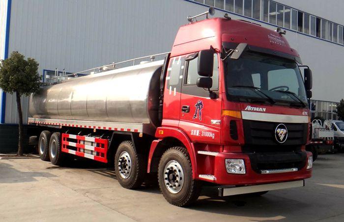 欧曼红色前四后八鲜奶运输车图片