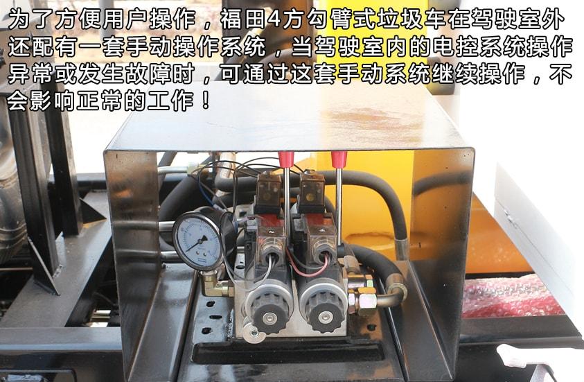 福田4方勾臂式垃圾车手动操纵杆图片
