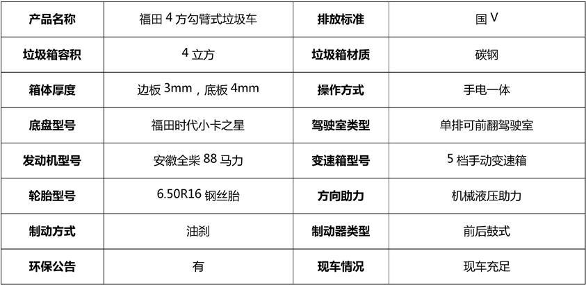 福田4方勾臂垃圾车基本参数
