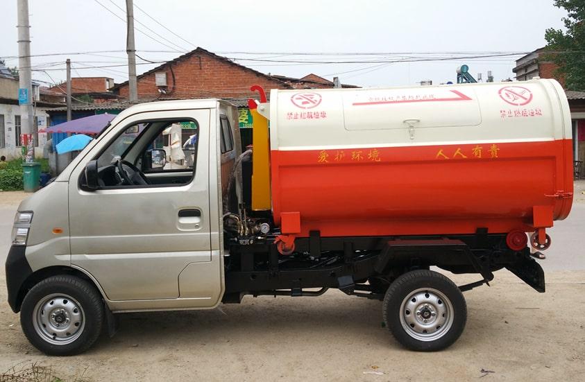 长安3方勾臂式垃圾车图片(车头向左正侧)