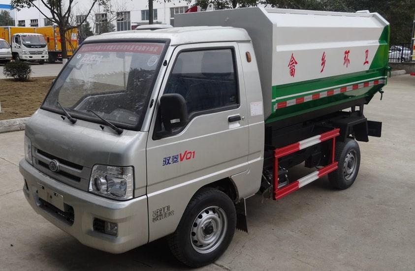 福田3方挂桶式垃圾车图片(车头向左前45度)