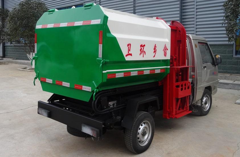 福田3方挂桶式垃圾车图片(车头向右后45度)