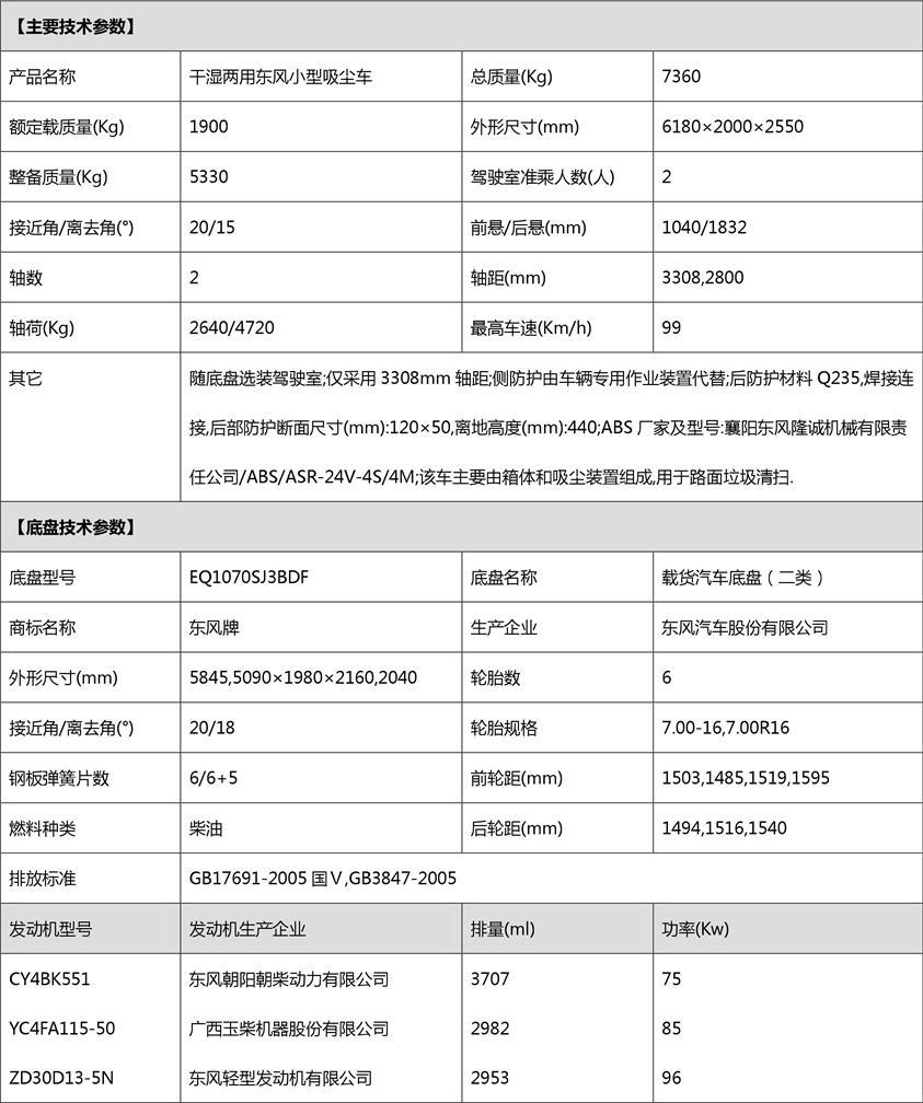东风3吨小型吸尘车公告参数