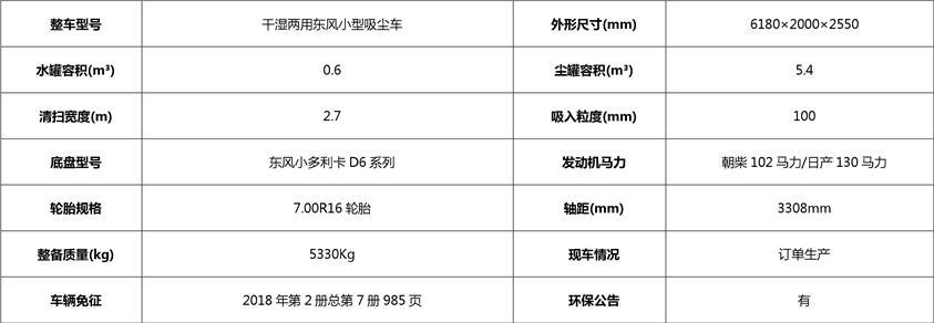东风3吨小型吸尘车基本配置