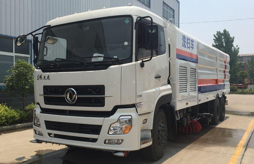 东风天龙13吨大型洗扫车整车图片(车头向左前45度)
