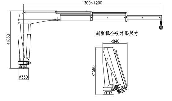 王牌1吨微型遥控随车吊吊机尺寸图片