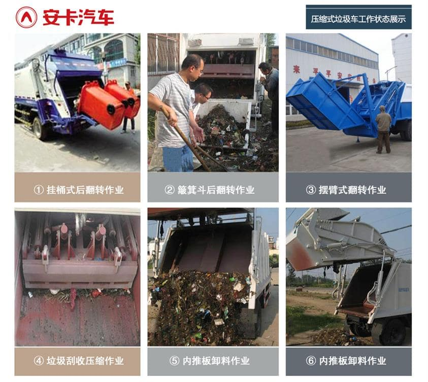 东风8吨压缩垃圾车工作状态展示