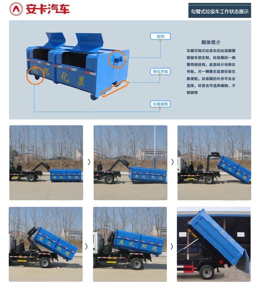 天锦12方勾臂垃圾车工作状态展示