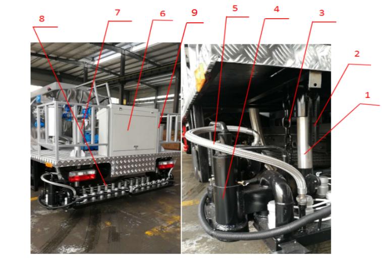 沥青洒布车后工作平台及喷洒装置