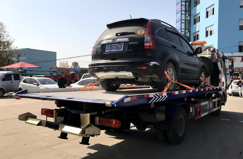 东风D9 7.4米平板清障车拖车实拍图片