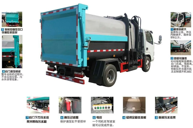 江淮7方自装卸式垃圾车细节图片