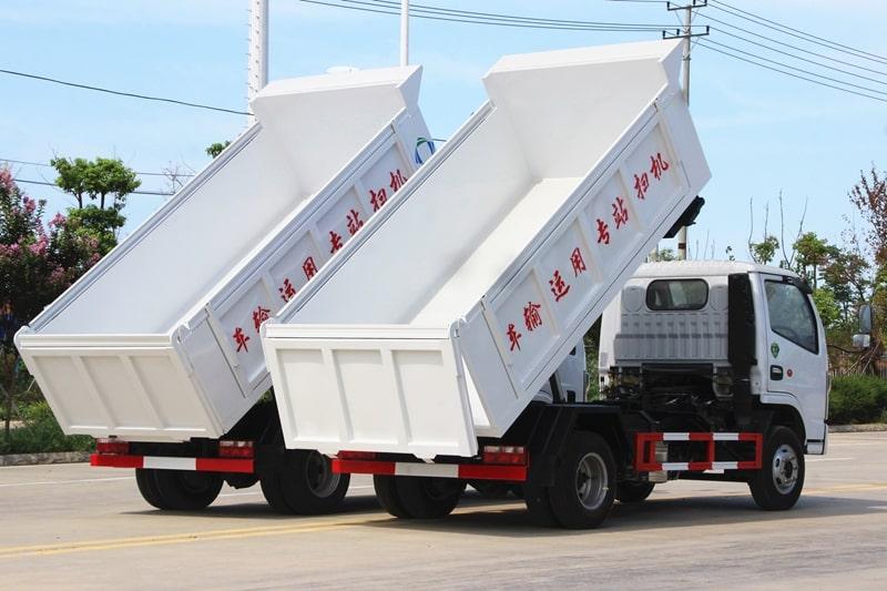 国六东风5方自卸式垃圾车实拍图片2