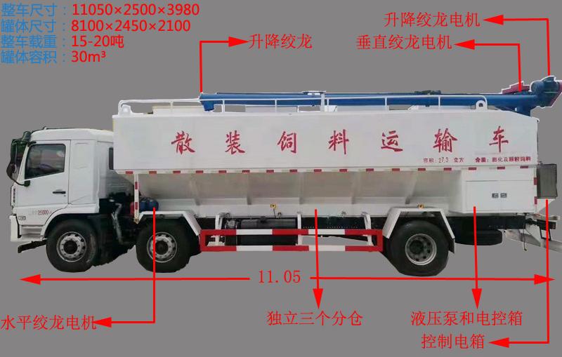 陕汽15吨散装饲料车功能图