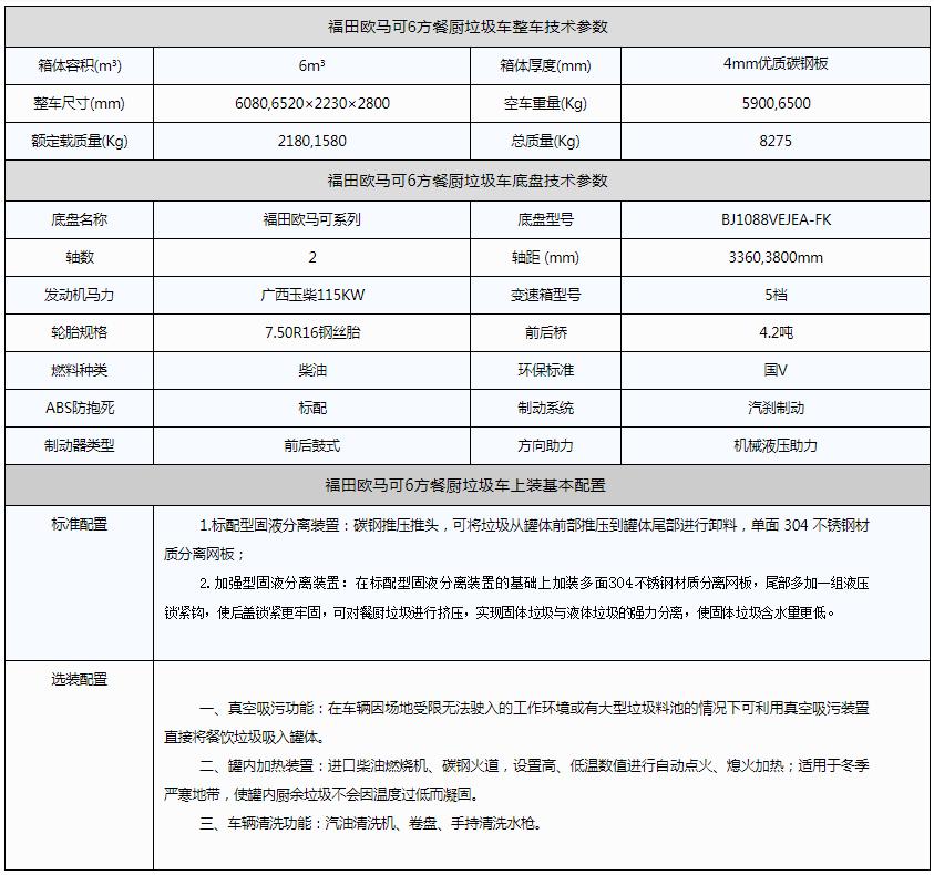 福田欧马可6方餐厨垃圾车资料图片