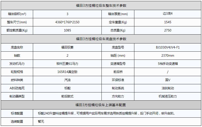 福田3方挂桶垃圾车资料图片