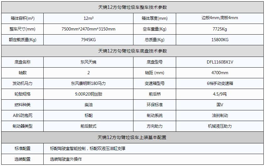 天锦12方勾臂垃圾车资料图片