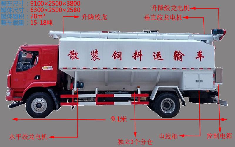 柳汽乘龙15吨散装饲料车