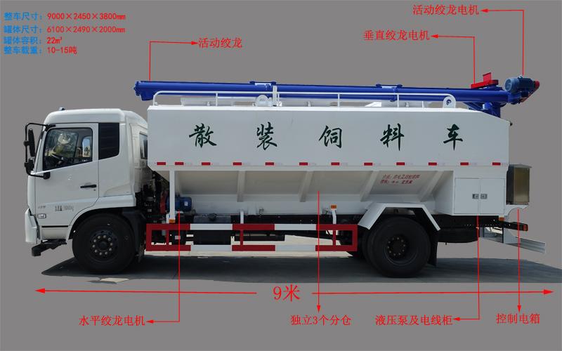 东风天锦10吨散装饲料车