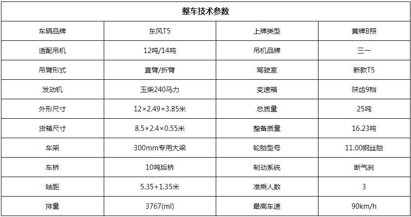 东风T5三一12吨随车吊底盘参数图片