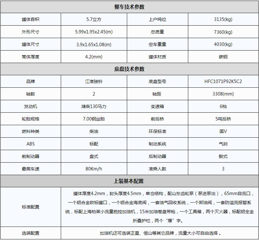 江淮5吨小型加油车参数图