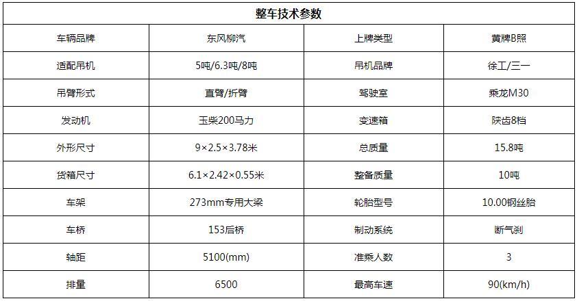 东风柳汽徐工6.3吨随车吊底盘参数图片