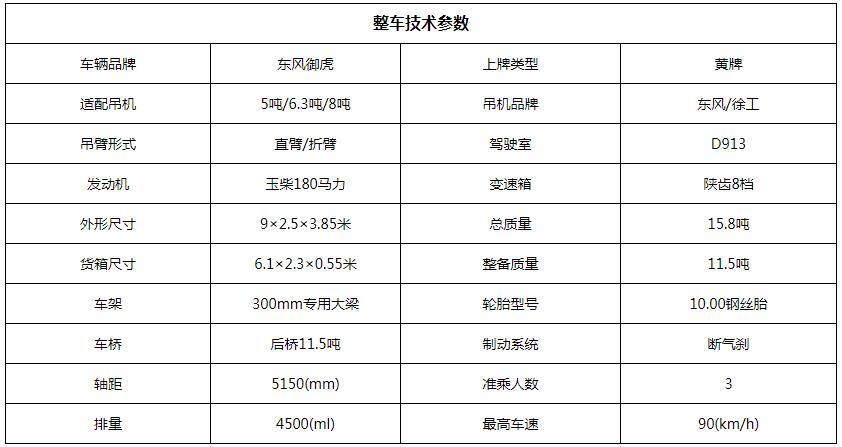 东风徐工6.3吨随车吊底盘参数图片