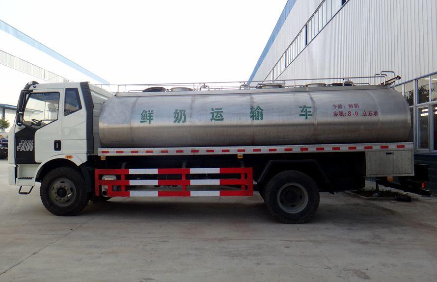 解放鲜奶运输车正侧图片