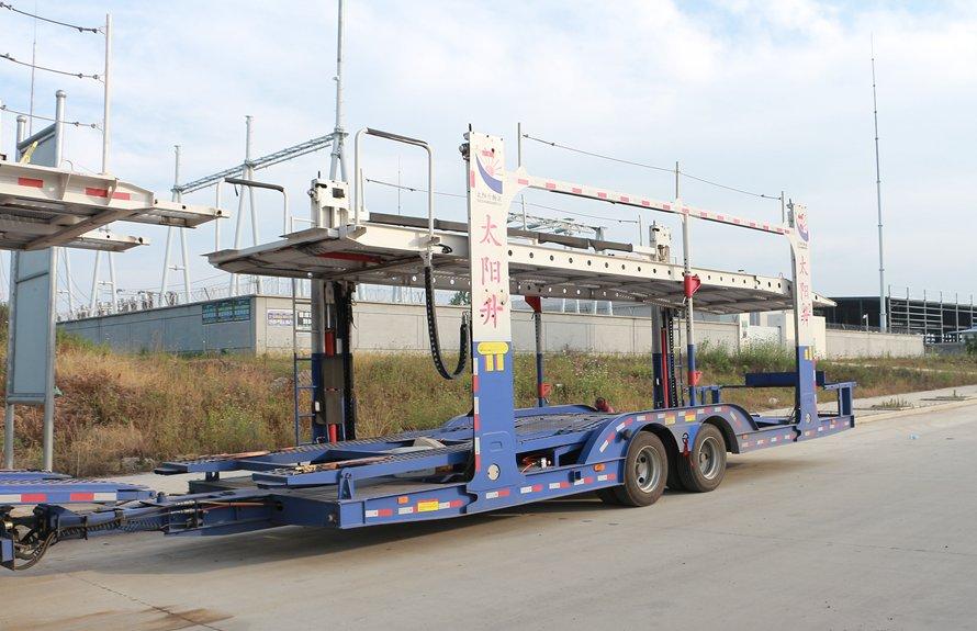 东风天锦9位轿运车辆运输车中轴半挂斜前