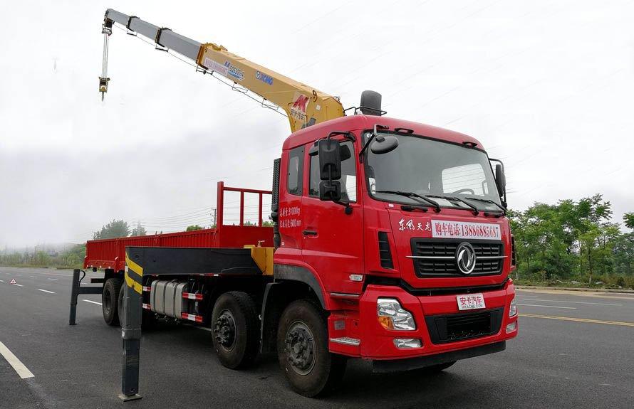 东风天龙16吨随车吊吊臂伸出右侧图片