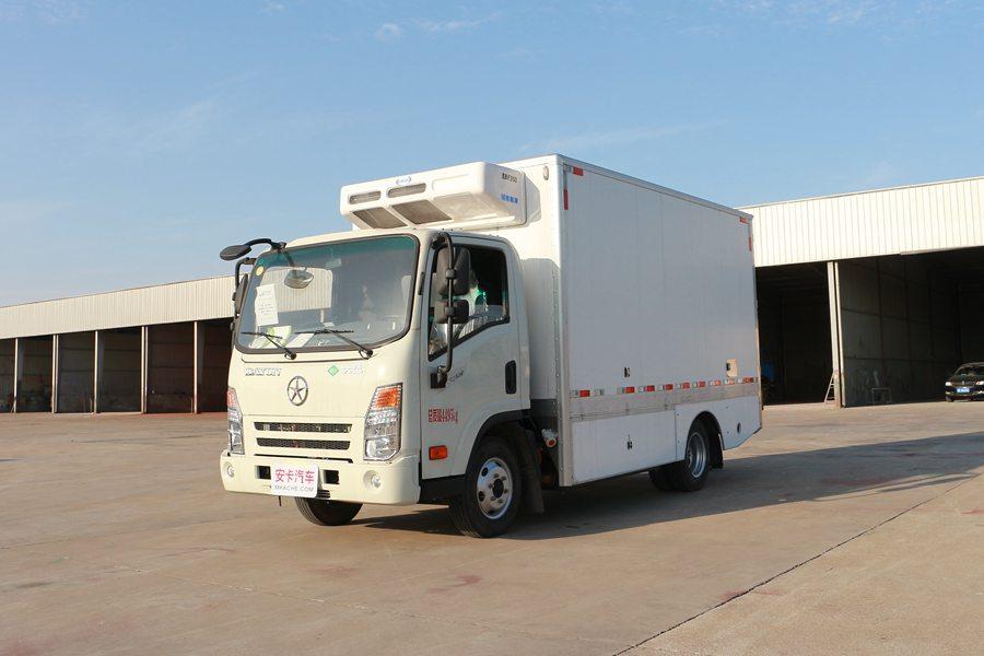大运4.2米纯电动冷藏车斜前图片