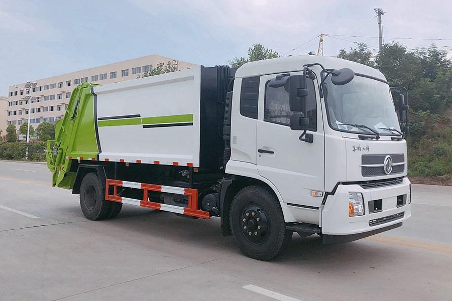 东风8吨压缩垃圾车图片(大落地斗放下)
